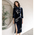 cheongsam Winter of 2019 S M L XL XXL three quarter sleeve long cheongsam Retro High slit daily Oblique lapel Decor Over 35 years old Embroidery other Other 100% Pure e-commerce (online only)