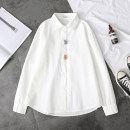shirt M L Spring 2021 cotton 91% (inclusive) - 95% (inclusive) Long sleeves Sweet Regular Polo collar Single row multi button routine other Under 17 Straight cylinder Extravagant Button Cotton 95% polyester 5% college