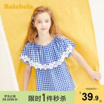shirt Blue and white 0481 Bala female 140cm 150cm 160cm 165cm summer Short sleeve Korean version lattice Pure cotton (100% cotton content) Cotton 100% Class B Summer 2020
