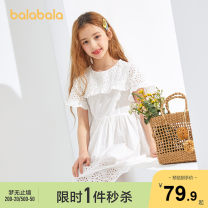 Dress Pink Blue 8002 Ben White 1120 female Bala 140cm 150cm 160cm 165cm Cotton 100% summer lady Short sleeve Solid color Pure cotton (100% cotton content) Splicing style Class B Summer 2020 8, 9, 10, 11, 13, 14 Chinese Mainland
