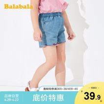 trousers Bala female 110cm 120cm 130cm 140cm Denim medium blue 0820 summer shorts leisure time No model Sports pants Leather belt middle-waisted Pure cotton (100% content) Don't open the crotch Cotton 58.2% Lyocell fiber (Lyocell) 41.8% other Summer 2020 Chinese Mainland