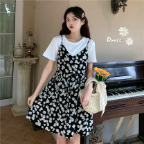 Dress Summer 2021 Single black small daisy sling skirt single white small daisy sling skirt single white T single black T S M L Middle-skirt Two piece set Short sleeve commute V-neck High waist Socket Big swing camisole 18-24 years old Fadeo Retro m1aEr More than 95% Chiffon other Other 100%