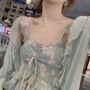 Dress Summer 2020 One piece mint green sunscreen shirt one piece clear water green dress S M L XL Mid length dress Two piece set Long sleeves commute One word collar High waist Decor Socket A-line skirt routine camisole 18-24 years old Fadeo Korean version TU7Ym More than 95% other other Other 100%