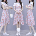 Dress Summer 2020 Pink Blue S M L XL 2XL Mid length dress Fake two pieces Short sleeve commute Crew neck High waist Broken flowers Socket A-line skirt routine Others 25-29 years old Type A Fadeo Korean version printing LxwtC More than 95% other Other 100% Pure e-commerce (online only)