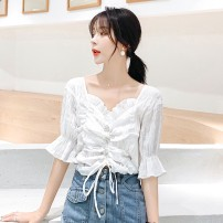 Lace / Chiffon Summer of 2019 white S M L XL 2XL Short sleeve commute Socket singleton  easy have cash less than that is registered in the accounts V-neck other pagoda sleeve 18-24 years old Fadeo NOvYs Pleated lace with ruffle and diamond Korean version Other 100% Exclusive payment of tmall