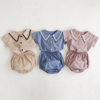 suit Other / other Apricot, violet, color blue 66cm,73cm,80cm,90cm neutral summer Korean version Short sleeve + pants 2 pieces Thin money No model Single breasted nothing Solid color cotton children Expression of love Class A Cotton 90% other 10% 3 months, 6 months, 12 months, 9 months