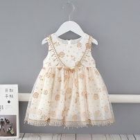 Dress Beige female Other / other 73cm,80cm,90cm,100cm,110cm Cotton 95% other 5% summer Europe and America Skirt / vest Embroidery cotton A-line skirt Class A 3 months, 12 months, 6 months, 9 months, 18 months, 2 years old