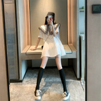 Women's large Summer 2020 White black S M L XL XXL XXXL Dress singleton  commute easy moderate Socket Short sleeve Abstract pattern Korean version other routine other Golden Jubilee flower 18-24 years old Other 100% Pure e-commerce (online only)