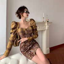 Women's large Autumn 2020 Picture color S M L XL XXL Dress singleton  commute Self cultivation moderate Socket Long sleeves Leopard Print Korean version square neck have cash less than that is registered in the accounts other puff sleeve JXD-Q6370 Golden Jubilee flower 18-24 years old Middle-skirt