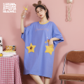 Pajamas / housewear set female Realwill / runwei 160(M) 165(L) 170(XL) 175(XXL) Printing color cotton Short sleeve Simplicity Leisure home summer Crew neck Cartoon animation Socket youth More than 95% cotton RT6000621 Cotton 100% Summer 2021 Cotton 100% Short skirt