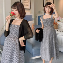 Dress Vivani Black shawl and plaid skirt suit [shawl + skirt] M L XL XXL Versatile Sleeveless Medium length lattice Cotton and hemp
