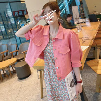 Dress Spring 2021 Pink, white, orange M,L,XL Mid length dress singleton  Long sleeves commute Polo collar middle-waisted Solid color Single breasted A-line skirt routine 18-24 years old Type A Other / other Korean version Button 91% (inclusive) - 95% (inclusive) cotton