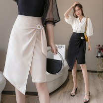 skirt Summer 2021 S M L XL Black apricot Middle-skirt commute High waist A-line skirt Solid color Type A 25-29 years old More than 95% Mibera other Korean version Other 100% Pure e-commerce (online only)