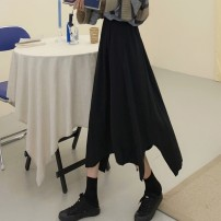 skirt Autumn of 2019 Average size Black, grey coffee striped T-shirt, grey black striped T-shirt Mid length dress commute High waist A-line skirt Solid color Type A 18-24 years old More than 95% other other Asymmetry Retro