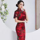 cheongsam Summer of 2019 S M L XL XXL Flowers in dreams Short sleeve long cheongsam grace High slit daily Round lapel Decor 25-35 years old Piping Flowers in dreams Beautiful pink silk Mulberry silk 95.8% polyurethane elastic fiber (spandex) 4.2% Pure e-commerce (online only)