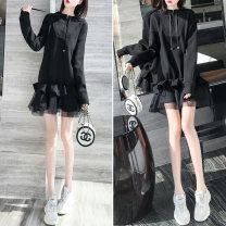 Dress Spring 2020 Regular Plush S M L XL Middle-skirt singleton  Long sleeves commute Hood Loose waist Solid color Socket Ruffle Skirt routine Others 25-29 years old Qian Ji Korean version More than 95% other Other 100% Pure e-commerce (online only)