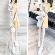 Dress Summer 2020 S M L XL Mid length dress singleton  Short sleeve commute Admiral High waist stripe Single breasted other routine Others 25-29 years old Type H Qian Ji Korean version Bow pocket tie More than 95% other Other 100% Pure e-commerce (online only)