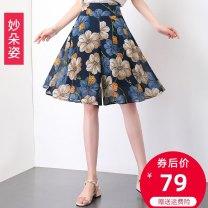 Casual pants 27/M 28/L 29/XL 30/2XL 31/3XL 32/4XL Summer 2020 Pant Wide leg pants High waist commute Thin money 25-29 years old Wonderful flower Korean version Other polyester 95% 5%