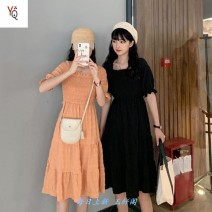 Dress Summer 2020 Orange, black, pure white [blank, no pattern] One size fits all, 2XL, m, l, XL Middle-skirt singleton  Short sleeve commute square neck High waist Solid color Socket 18-24 years old Korean version 0943M 91% (inclusive) - 95% (inclusive) polyester fiber