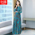 Dress Spring 2021 Green red M L XL 2XL 3XL 4XL longuette singleton  Long sleeves commute Crew neck middle-waisted Decor Socket A-line skirt routine Others 40-49 years old Type A Yi Yan Korean version printing YY3080 More than 95% other Other 100% Exclusive payment of tmall