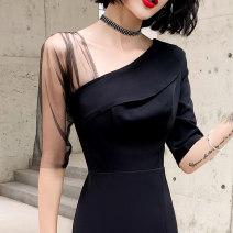 Dress / evening wear Weddings, adulthood parties, company annual meetings, daily appointments XS S M L XL XXL XXXL Korean version longuette middle-waisted Winter of 2019 other Single shoulder type zipper 18-25 years old elbow sleeve Solid color routine Other 100% Pure e-commerce (online only) other