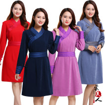 Dress Summer of 2019 Red, purple pink, blue grey Small (for waistline below 2'4), medium (for waistline below 2'6), large (for waistline below 2'8) Mid length dress Long sleeves stand collar High waist other routine Others 30-34 years old Mongolian beauty ethnic style other cotton