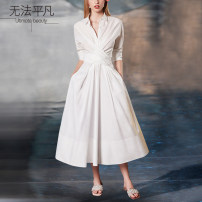 Dress Spring of 2019 Pre sale, in stock - dress L,M,S,XL Mid length dress singleton  Nine point sleeve commute middle-waisted Solid color Single breasted A-line skirt routine Others Type X It can't be ordinary Ol style 19F0089 71% (inclusive) - 80% (inclusive) other cotton