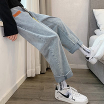 Women's large Summer 2020, spring 2020 M (90-100 kg), l (100-120 kg), XL (120-140 kg), 2XL (140-160 kg), 3XL (160-180 kg), 4XL (180-200 kg recommended) Jeans commute Solid color Korean version Denim 18-24 years old Three dimensional decoration trousers