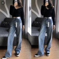 Women's large Autumn 2019, spring 2019, summer 2019 Light blue, dark blue, Tibetan blue XL (120-140 Jin recommended), 2XL (140-160 Jin recommended), 3XL (160-180 Jin recommended), 4XL (180-200 Jin recommended), l (100-120 Jin recommended), m (90-100 Jin recommended) Jeans commute Korean version Denim