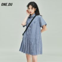 Dress Summer 2021 Light blue, dark blue S,M,L Mid length dress singleton  Long sleeves street Crew neck High waist stripe Pleated skirt routine 18-24 years old Type X Stitching, embroidery More than 95% cotton