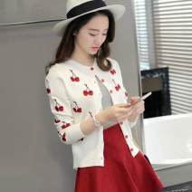 Wool knitwear Spring 2017 Average size White, black Long sleeves singleton  Cardigan other 81% (inclusive) - 90% (inclusive) Regular routine commute Straight cylinder Low crew neck routine Korean version 7081MD 40