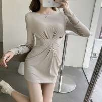 Dress Spring 2021 Black Beige S M L XL Short skirt singleton  Long sleeves commute Crew neck High waist Solid color Socket other routine Others 18-24 years old Type A Good core Retro fold More than 95% other other Other 100% Exclusive payment of tmall