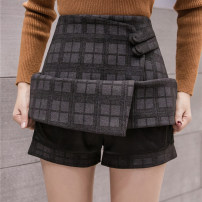 skirt Autumn of 2019 S M L XL Black and gray Short skirt commute High waist Irregular lattice Type A More than 95% Wool Good core other Retro Other 100% Pure e-commerce (online only)