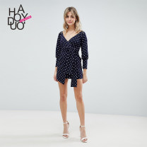 Dress Spring of 2019 Navy Blue S,M,L,XL,2XL Short skirt singleton  Nine point sleeve street V-neck High waist Dot other One pace skirt Wrap sleeves 18-24 years old Type X Haoduoyi Lace up, printed More than 95% polyester fiber navy