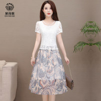 Dress Summer 2020 Red blue L XL 2XL 3XL 4XL 5XL longuette Fake two pieces Short sleeve commute Crew neck High waist Decor Socket routine Others 35-39 years old Type A Daimaygir Korean version 6373-1 More than 95% polyester fiber Polyester 100% Pure e-commerce (online only)