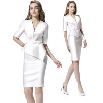 Professional dress suit S,M,L,XL,XXL Single purple coat, single purple skirt, single white coat, single white trousers, single white skirt Summer of 2018 elbow sleeve Suit skirt 25-35 years old URBANQUEEN 96% and above polyester fiber