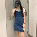 Fashion suit Summer 2021 S, M Denim blue, denim blue spot (1-3 days) hair Wu 77 71% (inclusive) - 80% (inclusive) cotton