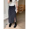 skirt Spring 2021 S,M,L black Mid length dress commute High waist Denim skirt Zebra pattern Type A 71% (inclusive) - 80% (inclusive) Denim Wu 77 cotton Button, zipper Korean version