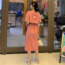 Dress Summer 2020 1942 back English [pink] 1942 back English [orange] 1942 back English [Khaki] 1926 irregular skirt [gray] 1926 irregular skirt [black] 1945 solid skirt [yellow] 1945 solid skirt [green] 1945 solid skirt [black] 1945 solid skirt [blue] Mid length dress singleton  Short sleeve commute