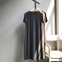 Women's large Summer 2020, spring 2020 Dress singleton  Self cultivation thin Socket Short sleeve Solid color Crew neck Medium length modal  Nine buckles Medium length