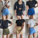 skirt Summer 2020 25,26,27,28,29 Black, apricot, dark blue, light blue, army green Short skirt street Denim skirt 18-24 years old 81% (inclusive) - 90% (inclusive) cotton