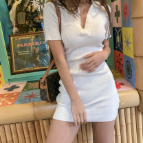 Dress Spring of 2019 Average size Short skirt singleton  Short sleeve street Polo collar Solid color Socket other routine Others 18-24 years old Type H Other / other 31% (inclusive) - 50% (inclusive) knitting cotton Europe and America