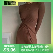 Dress Autumn 2020 Average size Mid length dress Long sleeves street Crew neck Solid color Socket other other Others 18-24 years old 31% (inclusive) - 50% (inclusive) other cotton Europe and America