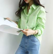 shirt Light green spot, light green purchasing agent Average size Spring 2021 cotton 96% and above Long sleeves Regular Single row multi button routine Solid color 25-29 years old