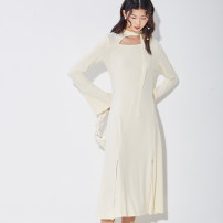 Dress Spring 2021 Black, cream, pink S,M,L longuette singleton  elbow sleeve commute other High waist Solid color Socket A-line skirt pagoda sleeve Others 25-29 years old Type X U are / ear literature Hollow, lace up, threaded, asymmetric D68TN1202 71% (inclusive) - 80% (inclusive) knitting other