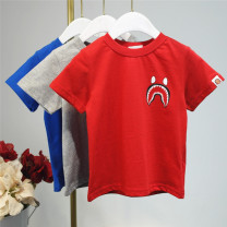 T-shirt Grey, red, blue Other / other 100cm,110cm,120cm,130cm,140cm neutral summer Short sleeve Crew neck No model nothing cotton Solid color