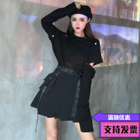National costume / stage costume Summer 2020 Black pleated skirt with waist bag, gray pleated skirt with waist bag, white detachable Long Sleeve T, black detachable long sleeve t S. M, l, average size 18-25 years old cotton