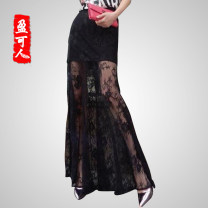 skirt Summer of 2019 black longuette Versatile High waist High waist skirt Solid color 18-24 years old 71% (inclusive) - 80% (inclusive) Lace Yingkeren Lycra Lycra Splicing Polyurethane elastic fiber (spandex) 80% cotton 20%
