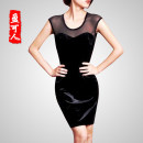 Women's large Autumn 2015 black More than 2XL, 4XL, 5XL, 6x plus 10 yuan, other sizes please leave a message 3XL Dress singleton  commute Self cultivation thin Conjoined Sleeveless Solid color Ol style Crew neck have cash less than that is registered in the accounts Polyester others Yingkeren