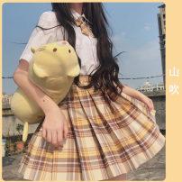 skirt Summer 2020 S,M,L,XL,2XL Short skirt Sweet High waist Pleated skirt lattice Type A 18-24 years old JK women's uniform Silk and satin Schmidt 401g / m ^ 2 (inclusive) - 500g / m ^ 2 (inclusive) Mori